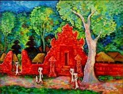 Wanita Bali Melintas Di Depan Pura, 2005