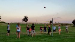 "Playing Volleyball for the ""Camp Out"" Night"