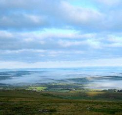 View towards Lydford, above the morning mist