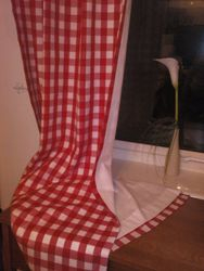 "Beautiful Lined Gingham 90"" Drop Curtains."