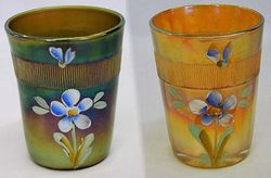 (Enameled) Forget-me-not with prism band, green and marigold, Fenton