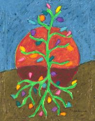 Send Your Roots Down Mandala, Oil Pastel, 11x14, Original Sold