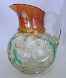 (Enameled)  Lotus pitcher, marigold