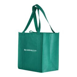 "Eco-Friendly Reusable Shopping Tote Bags. Color: Dark Green. 13.5"" x 12.5"" x 8.5"" - Includes Gusset Insert."