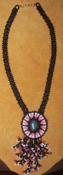 Bead Embroidered Riverstone Necklace