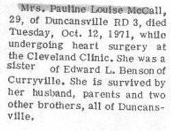 McCall, Pauline Benson 1971