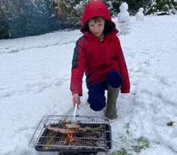 Jack cooking in the snow