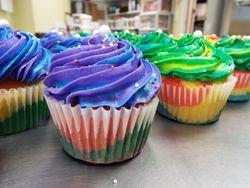 Rainbow batter tie dye cupcakes $4 each