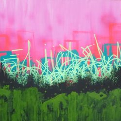 """Gritty City Pink"" acrylic on cradled wood panel, 12 x 12 inches, 2014 *privately owned"