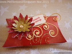 Frayed Floral Decorated Pillow Box Red and Gold