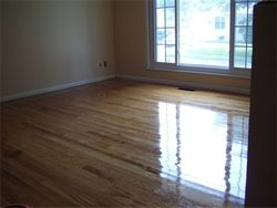Refinished floor and new paint in living room