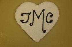 Fondant covered jumbo monogram heart $5 each