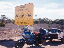 One of the many warning signs on the Nullabor on the way to the 1998 AGM Bunbury - Mar 1998