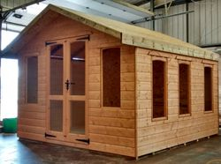 Apex Summer House (12' x 10') 1' Overhang Roof, Brenton Glazed Doors With 3 Brenton Opening & 2 Fixed Windows