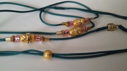 Teal Cord with Pink and Gold