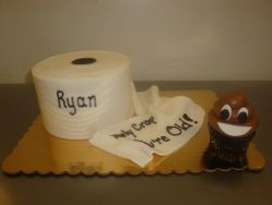 10 serving toilet paper cake $50, poop emoji cupcake $3