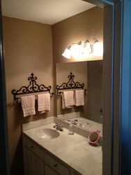 outdated cabinet, top, sink, fixture, light