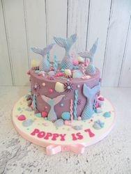 Mermaid and Seashells Birthday Cake
