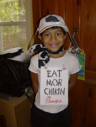Free kids meal if you dressed like a cow at Chick Fil A!