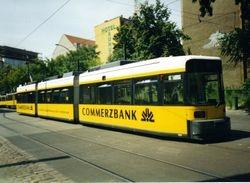 An AEG tram advertising Commerzbank