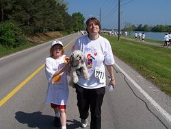 Mike, Mom and Snickers on the Rankin Run 2006