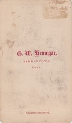 G. W. Hennigar, photographer, of Middletown, CT - back