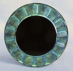 Circle Delight button made into a hatpin - green Iridescence