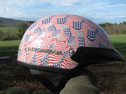 Helmet processed in american flags