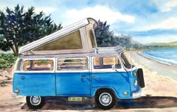 Blue VW Camper at the Beach