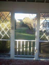 Wood door restoration interior view