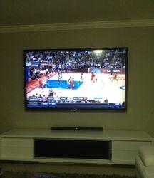 TV, sound bar, media table
