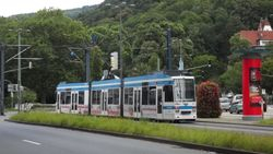 Duewag M-Type tram leaving Poststrasse