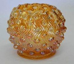 Hobnail Swirl rose bowl, marigold