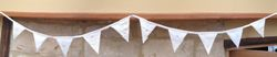 Vintage Cream/ivory 10 flag linen Bunting with beautiful hand embroidery & lace, button embellishments