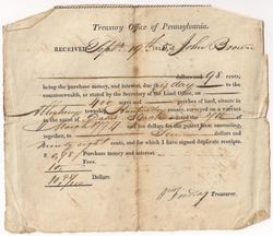 John Brown Land Purchase from David Black in Allegheny Township in 1815