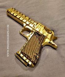 DESERT EAGLE TACTICAL BRONZE CF mounted on Tiger Striped Gold Titanium DE