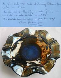Sowerby Flora ruffled bowl, blue, and Letter of provenance