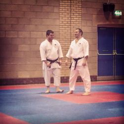 Ash and Richy on warm up mat