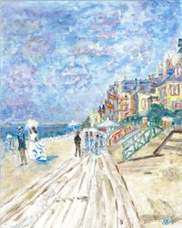 Interpretation of The Beach at Trouville by Monet