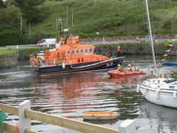 Arklow lifeboat visits Courtown Harbour