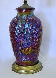 Peacock lamp - red