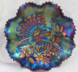 "Peacocks  ruffled 9"" bowl with Ribbed exterior, purple"
