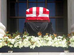Close-Up of Casket at West Façade of US Supreme Court Building from West During Lying in Repose of Associate Supreme Court Justice Ruth Bader Ginsburg