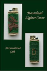 Beaded Lighter Cover with Moosehead Pattern