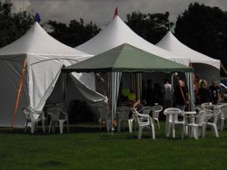 Refreshments marquee in Eastwood park for Eastwood Baptist Church