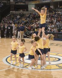 Pacers Cheer Pals Performing at a game.