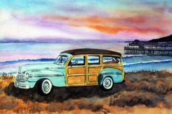 Light blue Woodie at the Beach