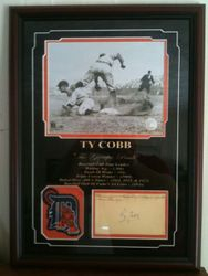 Ty Cobb Autograph Framed and Matted with Photo  JSA Authenticated