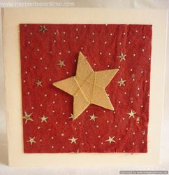 Gold Threaded Star on Handmade Paper