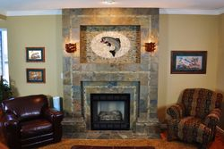 Slate Fireplace with Fish Mural